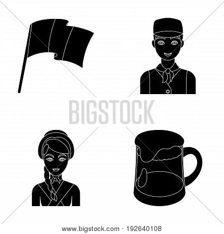 National flag, belgians and other symbols of the country.Belgium set collection icons in black style vector symbol stock illustration .