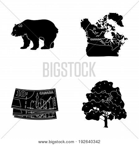 Canadian dollar, territory map and other symbols of the country.Canada set collection icons in black style vector symbol stock illustration .