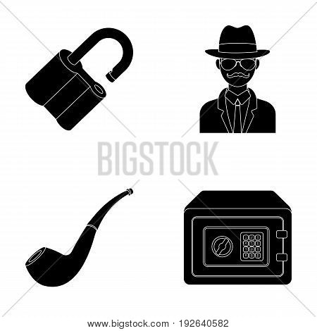 Lock hacked, safe, smoking pipe, private detective.Detective set collection icons in black style vector symbol stock illustration .