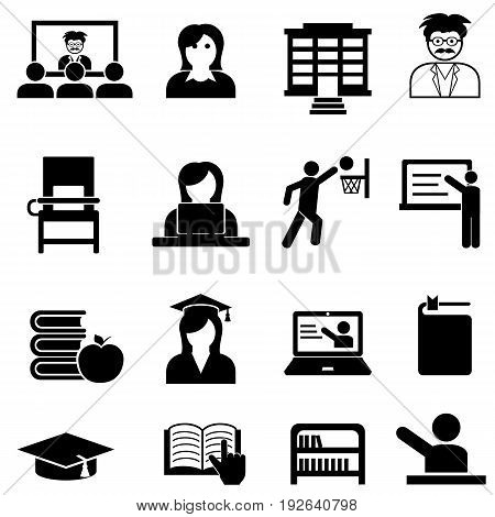 College and university higher education web icon set