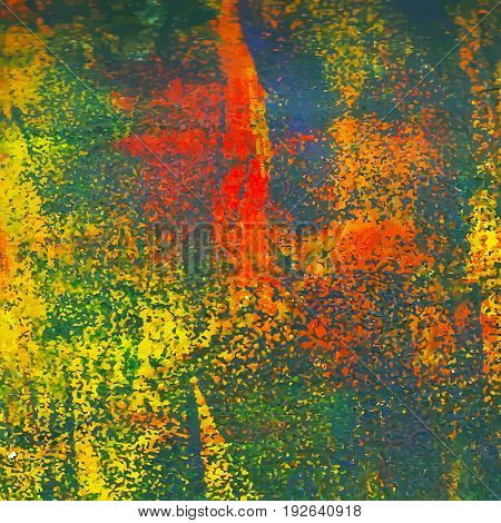 Abstract artistic acrylic painted background of the autumnal hues. Сrackle texture. EPS 10 vector illustration.