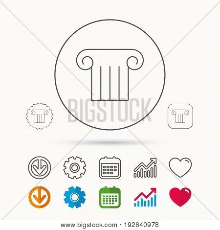 Antique column icon. Ancient museum sign. Architectural pillar symbol. Calendar, Graph chart and Cogwheel signs. Download and Heart love linear web icons. Vector