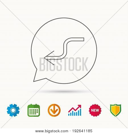 Arrow back icon. Previous sign. Left direction symbol. Calendar, Graph chart and Cogwheel signs. Download and Shield web icons. Vector