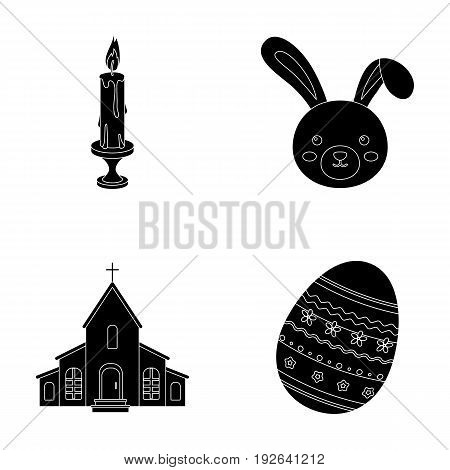 Church, candle, easter bunny and painted egg.Easter set collection icons in black style vector symbol stock illustration .