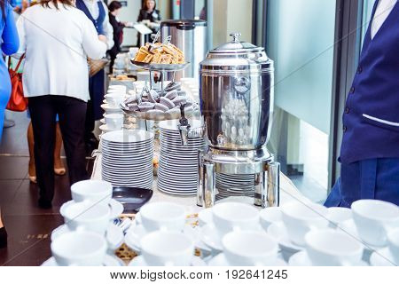 Catering Table With Dishes And Snacks On The Business Event In The Hotel Hall. Close Up, Selective F