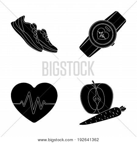 Heart rhythm, vitamins and other equipment for training.Gym and workout set collection icons in black style vector symbol stock illustration .
