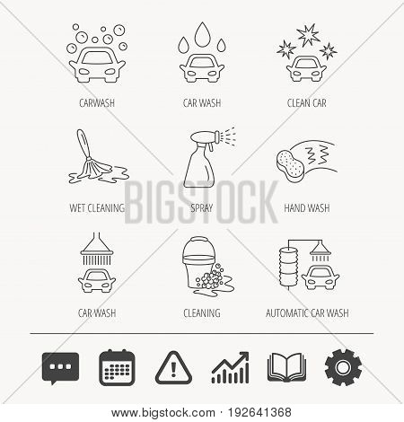 Car wash icons. Automatic cleaning station linear signs. Bucket with foam bubbles, sponge and spray flat line icons. Education book, Graph chart and Chat signs. Vector