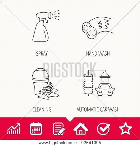 Car wash icons. Automatic cleaning station linear signs. Bucket with foam bubbles, sponge and spray flat line icons. Edit document, Calendar and Graph chart signs. Star, Check and House web icons