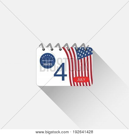 Vector web element of Independence Day calendar leaf with blue label american flag on the dark blue background.