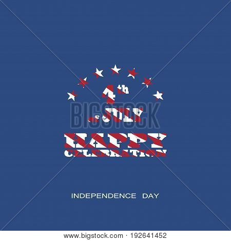 Vector poster of Independence Day with text with a pattern from the American flag on the dark blue background.