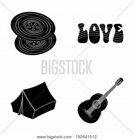 Vinyl discs, guitar, tent.Hippy set collection icons in black style vector symbol stock illustration.