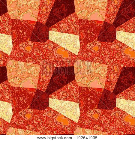 Marbled background of polygons. Red, pink and yellow veined marble texture