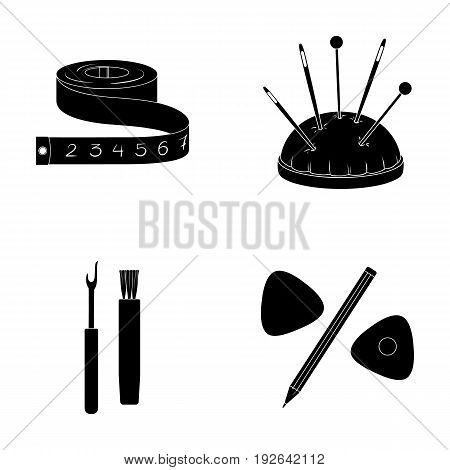 Measuring tape, needles, crayons and pencil.Sewing or tailoring tools set collection icons in black style vector symbol stock illustration .