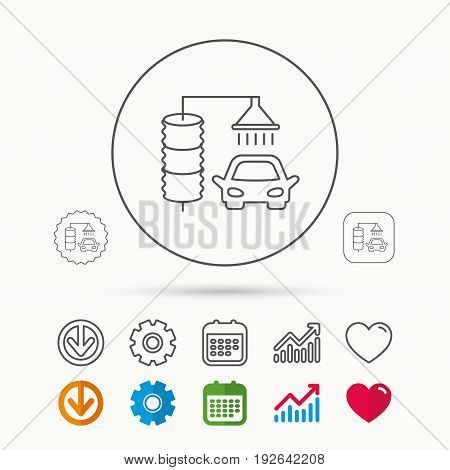 Automatic carwash icon. Cleaning station sign. Calendar, Graph chart and Cogwheel signs. Download and Heart love linear web icons. Vector