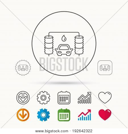 Automatic carwash icon. Cleaning station with water drop sign. Calendar, Graph chart and Cogwheel signs. Download and Heart love linear web icons. Vector