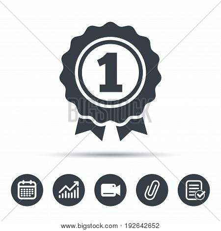 Award medal icon. Winner emblem symbol. Calendar, chart and checklist signs. Video camera and attach clip web icons. Vector