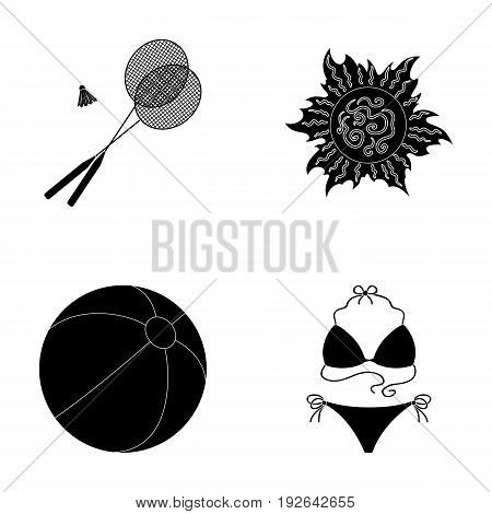A game of badminton, a ball and the sun.Summer vacation set collection icons in black style vector symbol stock illustration .