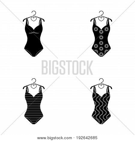 Different kinds of swimsuits. Swimsuitsset collection icons in black style vector symbol stock illustration .