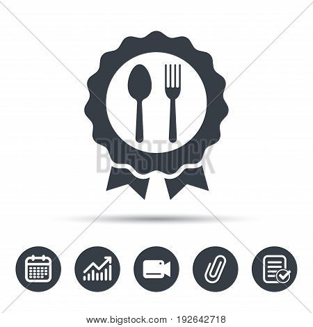 Award medal icon. Food winner emblem symbol. Fork and spoon signs. Calendar, chart and checklist signs. Video camera and attach clip web icons. Vector
