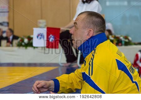 BERLIN - MARCH 18 2017: Coach of the Ukrainian team. European championship Kyokushin World Union (KWU) for Children and Youth.