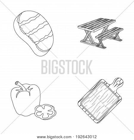 Fried steak, table with a bench for relaxation, sweet pepper, cutting board.BBQ set collection icons in outline style vector symbol stock illustration .