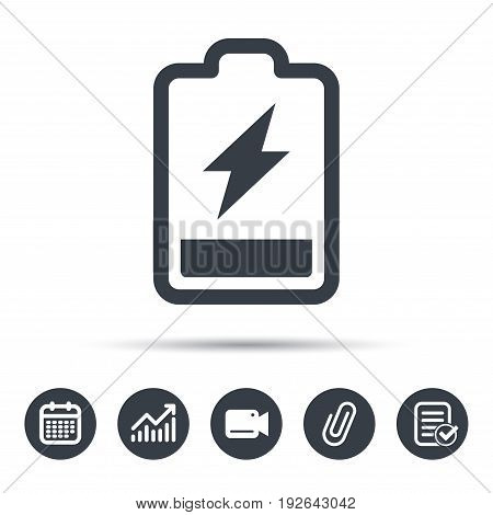 Battery power icon. Charging accumulator symbol. Calendar, chart and checklist signs. Video camera and attach clip web icons. Vector