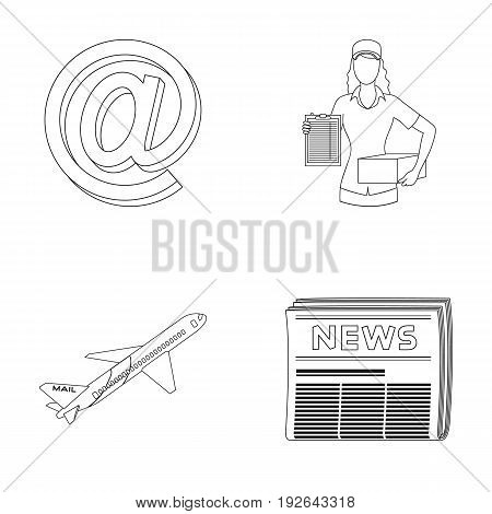Email symbol, courier with parcel, postal airplane, pack of newspapers.Mail and postman set collection icons in outline style vector symbol stock illustration .