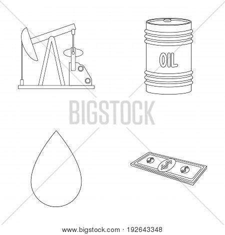 Pump, barrel, drop, petrodollars. Oil set collection icons in outline style vector symbol stock illustration .