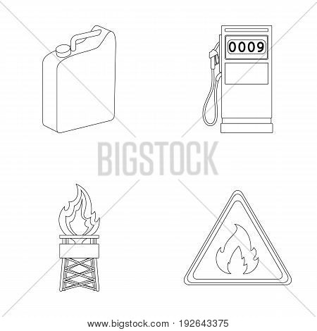 Canister for gasoline, gas station, tower, warning sign. Oil set collection icons in outline style vector symbol stock illustration .