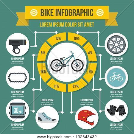 Bike infographic banner concept. Flat illustration of bikeinfographic vector poster concept for web