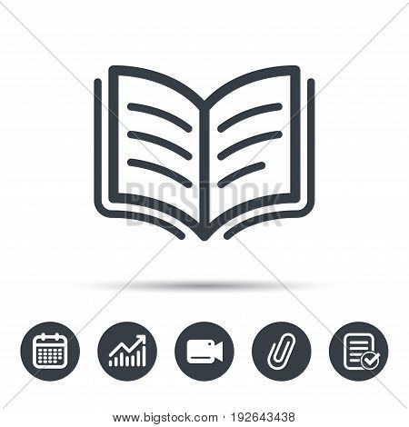 Book icon. Study literature sign. Education textbook symbol. Calendar, chart and checklist signs. Video camera and attach clip web icons. Vector
