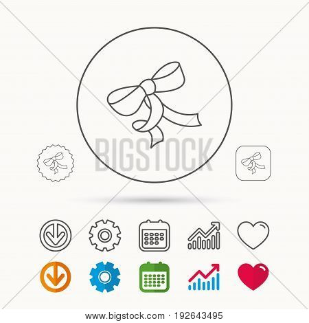 Gift bow icon. Present decoration sign. Ribbon for packaging symbol. Calendar, Graph chart and Cogwheel signs. Download and Heart love linear web icons. Vector