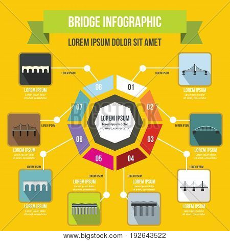 Bridge infographic banner concept. Flat illustration of bridge infographic vector poster concept for web