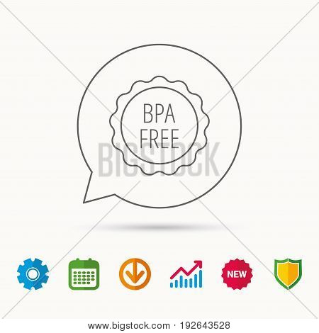 BPA free icon. Bisphenol plastic sign. Calendar, Graph chart and Cogwheel signs. Download and Shield web icons. Vector