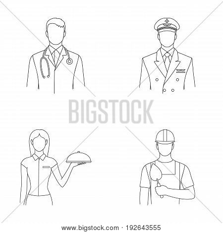 The doctor, the pilot, the waitress, the builder, the mason.Profession set collection icons in outline style vector symbol stock illustration .