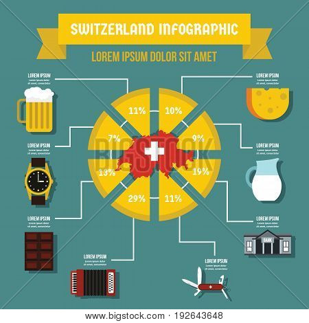 Switzerland infographic banner concept. Flat illustration of Switzerland infographic vector poster concept for web