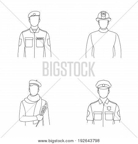 Military, fireman, artist, policeman.Profession set collection icons in outline style vector symbol stock illustration .