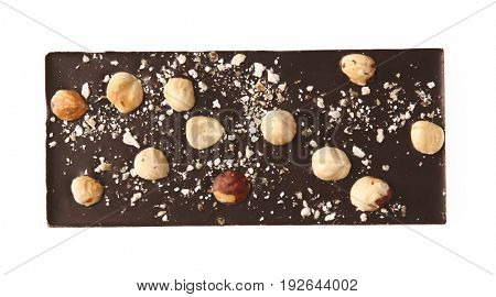 Chocolate bar with nuts, isolated on white