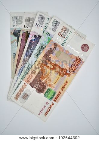 five banknotes 5000 1000 500 100 50 banknotes of Bank of Russia on white background Russian rubles