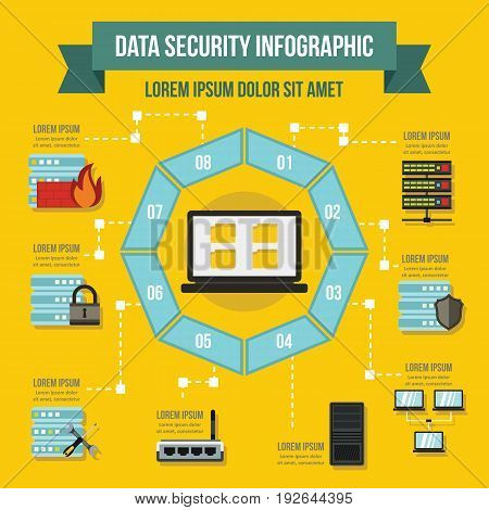 Data service infographic banner concept. Flat illustration of data service infographic vector poster concept for web