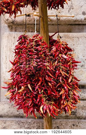 Dried hot traditional Hungarian paprika pepper hanging in bunch