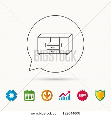 Chest of drawers icon. Interior commode sign. Calendar, Graph chart and Cogwheel signs. Download and Shield web icons. Vector