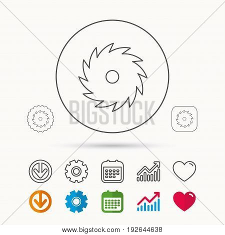 Circular saw icon. Cutting disk sign. Woodworking sawblade symbol. Calendar, Graph chart and Cogwheel signs. Download and Heart love linear web icons. Vector