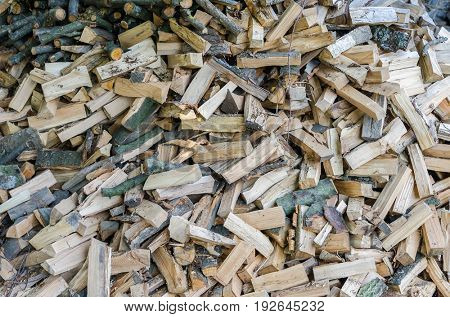 pile of crushed firewood as background