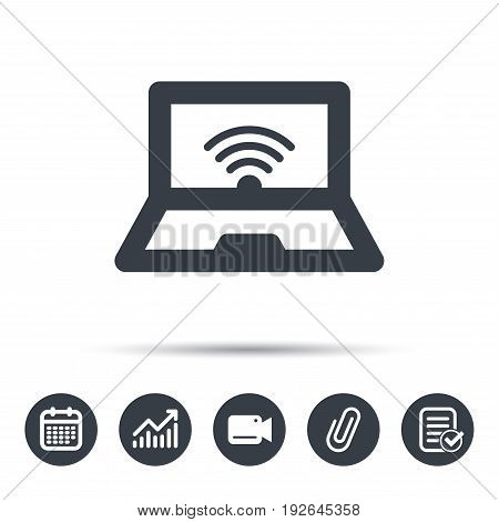 Computer with wifi icon. Notebook or laptop pc symbol. Calendar, chart and checklist signs. Video camera and attach clip web icons. Vector