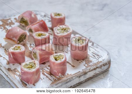 Ham Roll Ups are made with pickles and cream cheese