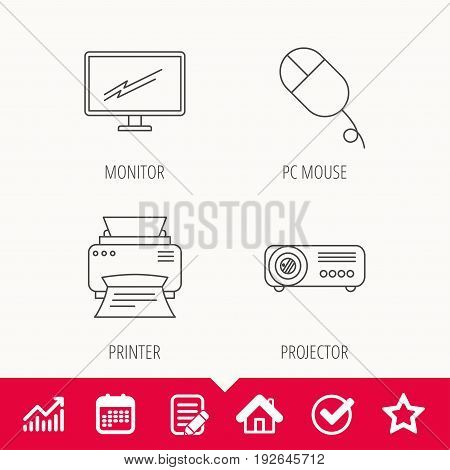 Monitor, printer and projector icons. PC mouse linear sign. Edit document, Calendar and Graph chart signs. Star, Check and House web icons. Vector