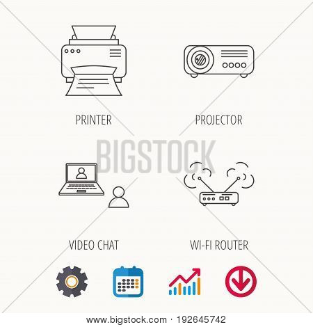 Projector, printer and wi-fi router icons. Video chat linear sign. Calendar, Graph chart and Cogwheel signs. Download colored web icon. Vector