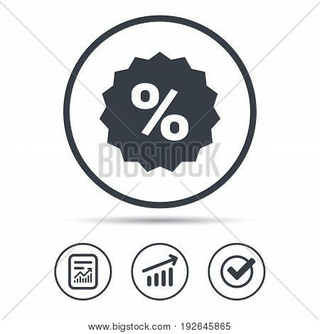 Discount icon. Sale offer star symbol. Report document, Graph chart and Check signs. Circle web buttons. Vector