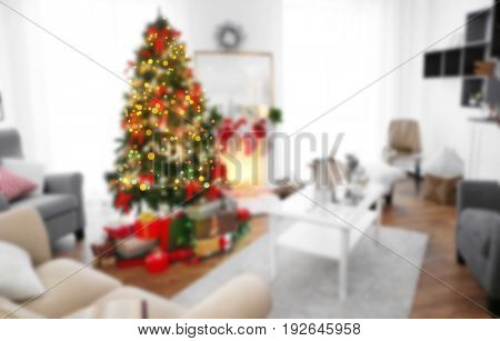 Blurred view of living room decorated for Christmas celebration. Happy New Year 2018